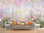 Фотообои Лес и фламинго - 1