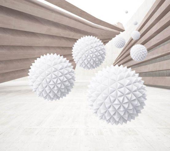 Фотообои Коричневый коридор с шарами 28928
