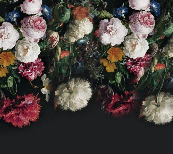 Фотообои Винтажные цветы на черном 22340