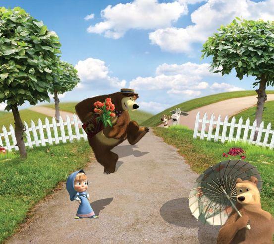 Фотообои Два медведя и Маша 11335