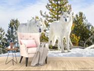 Фотообои два белых волка на снегу - 4