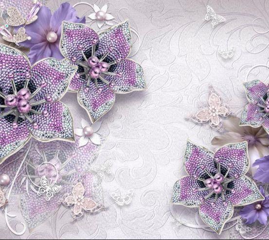 Фотообои 3d брошь+цветы 18773