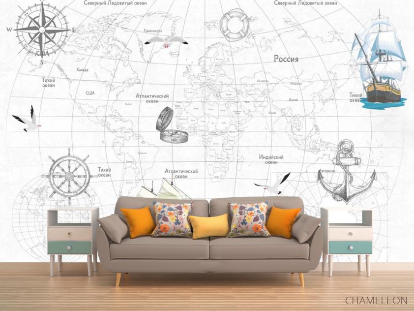 Фотообои Детская карта с кораблями - 1