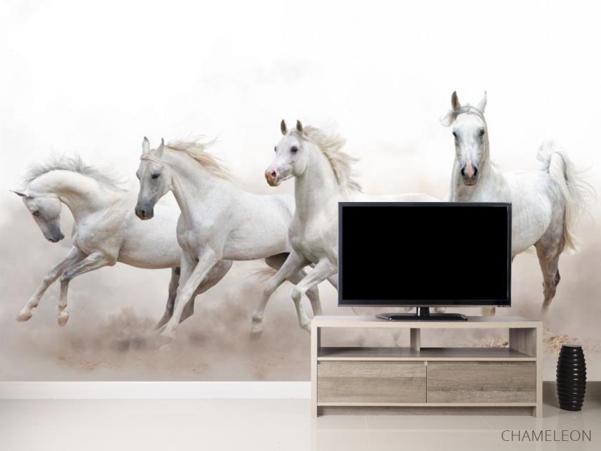 Фотообои четыре белые лошади - 2