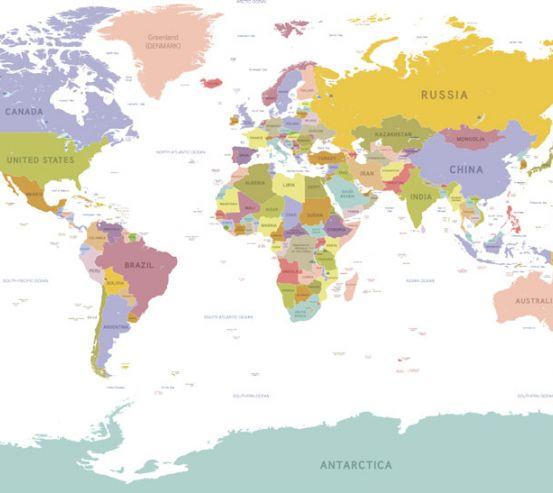 Фотошпалери Географічна карта світу 22612