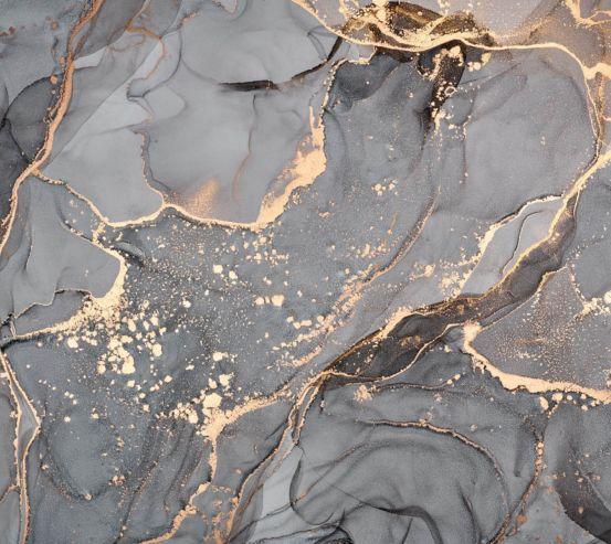Фотообои Серый Fluid art с золотом 27740