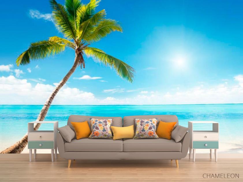 Фотообои Пальма, солнце, пляж - 1