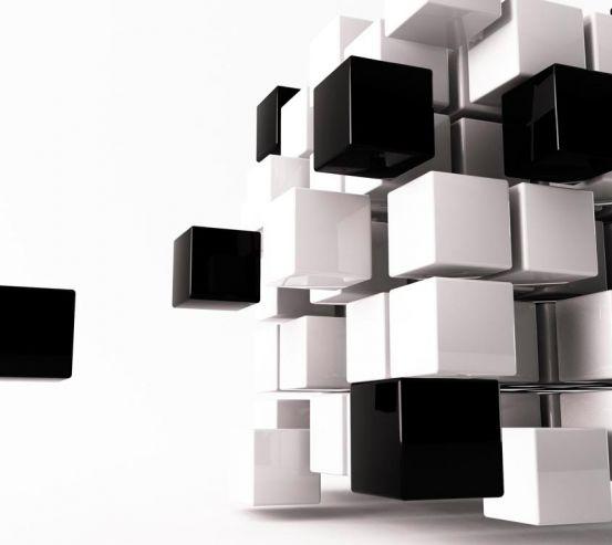 3д фотообои Черние и белые кубы 6802