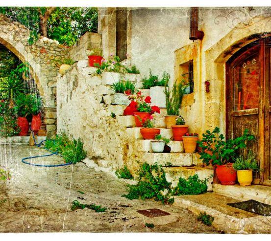 Фотообои Цветы в горшках на ступеньках 2514