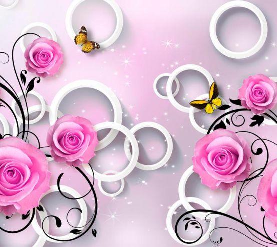 Фотообои Розы сиреневые 3d 18733
