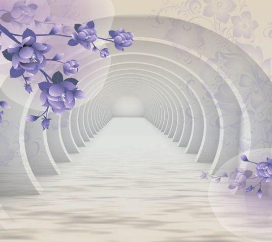 Фотошпалери Тунель з фіолетовими квітами 22483