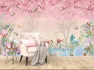 Фотообои Розовые фламинго в райском саду - 4