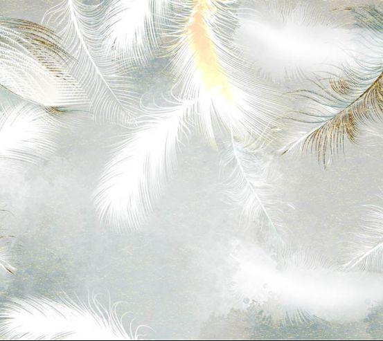 Фотошпалери біле пір'я з золотом 29229