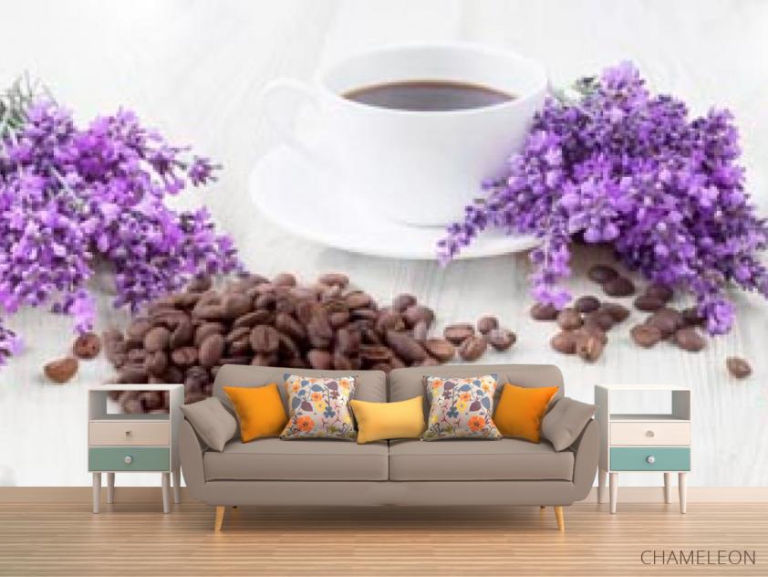 Фотообои в кухню Кофе, цветы - 1