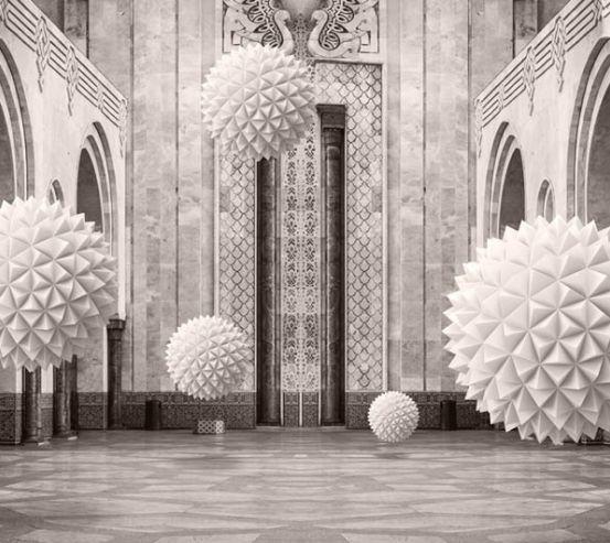 3д фотообои 3д шары в арках 22489