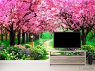 Фотообои Тоннель из розовых деревьев - 2
