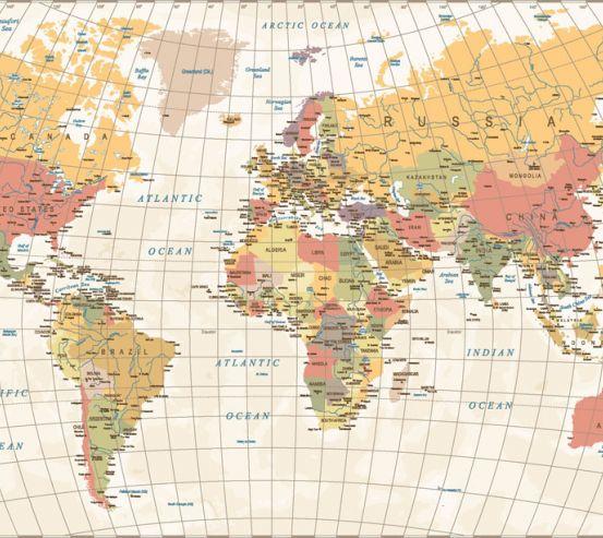 Фотообои Карта мира в бежевых тонах 20252