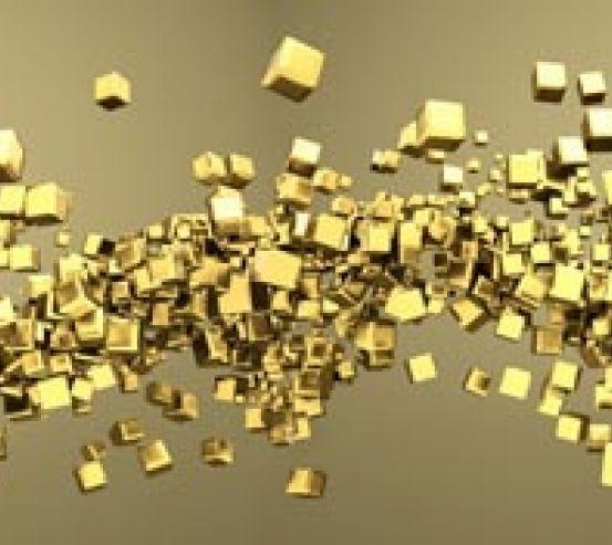 Фотообои Золотые 3d квадратики 18479