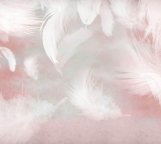 Фотошпалери білі пір'я на рожевому тлі 29283