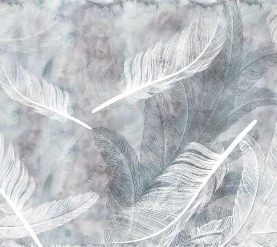 Фотошпалери біле пір'я на акварельному тлі 29231