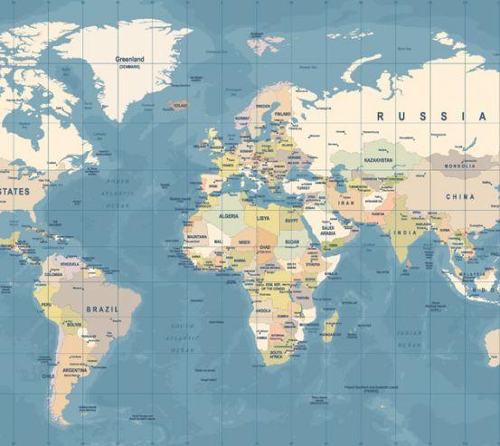 Фотообои Карта мира на голубом 20253