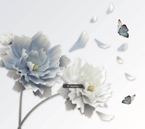 Фотообои Голубые 3д цветы 24258