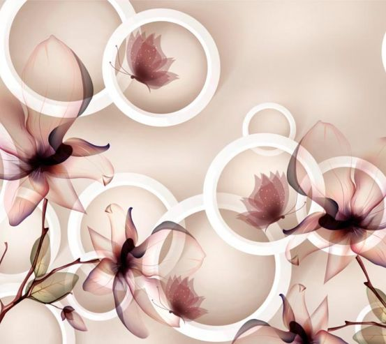 Фотообои 3d коричневые цветы 18751