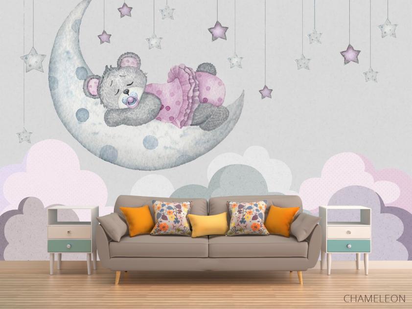 Фотообои Розовый мишка для детской - 1