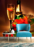 Фотообои Клубника, шампанское - 4