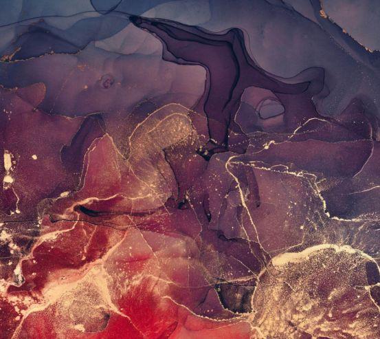 Фотообои Золотой Fluid art с фиолетовым 25277
