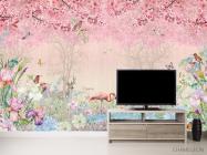 Фотообои Розовые фламинго в райском саду - 2