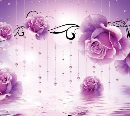 Фотообои Фиолетовые 3d цветы 19277