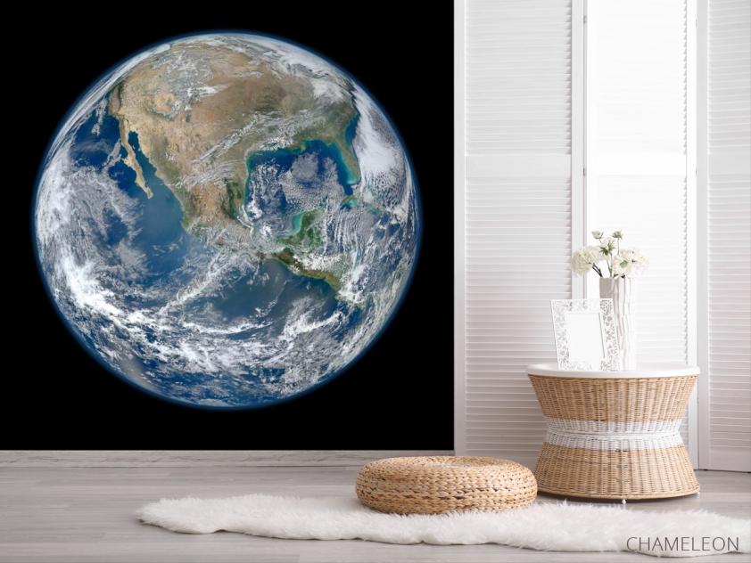 Фотообои планета Земля на черном фоне - 2