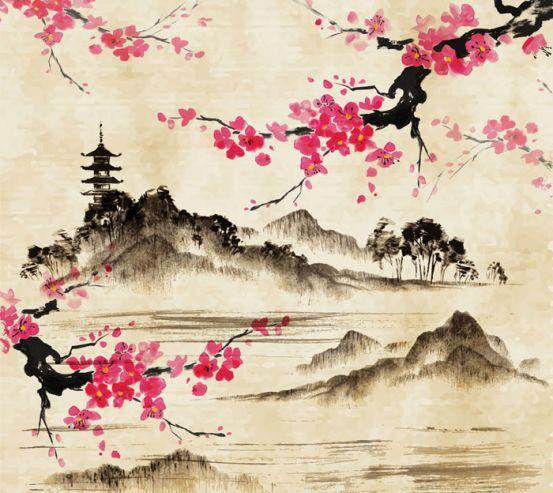 Фотообои Акварельные горы и сакура 15343