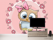 Фотообои Совушка на розовом фоне - 2