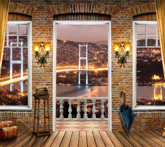 Фотообои Вид из окна на мост 20261