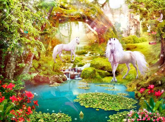 Фотообои Лошади, арка, вода