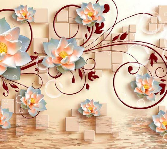 Фотообои 3д цветы и фигуры 18743