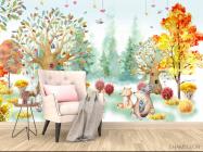 Фотообои Акварельный лес для детской - 4