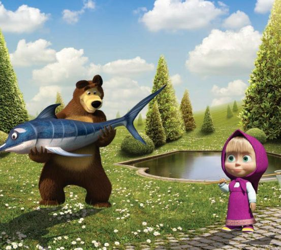 Фотообои Маша, медведь, рыба 10075