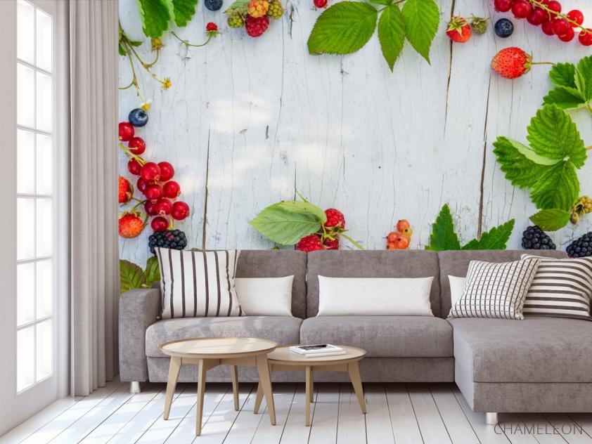Фотообои ягоды на деревянном фоне - 3