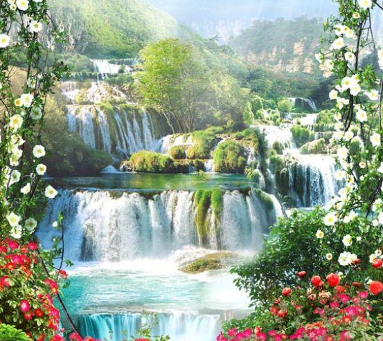 Фотообои водопад за каменным забором 21091