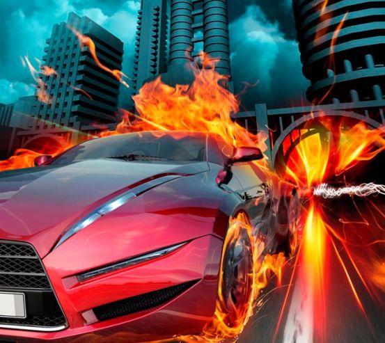 Фотообои Огненный автомобиль 10526