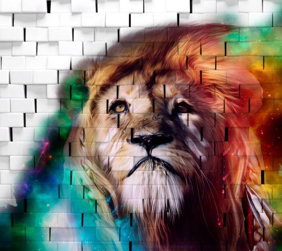 Фотошпалери 3Д лев на тлі цегляної стіни 28194