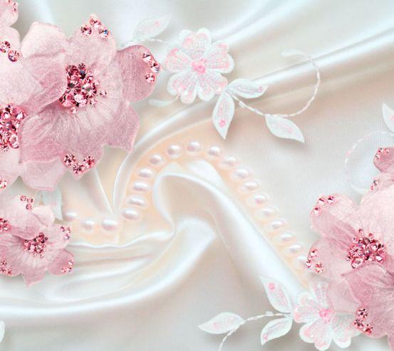Фотообои Розовые цветы на атласе 19941