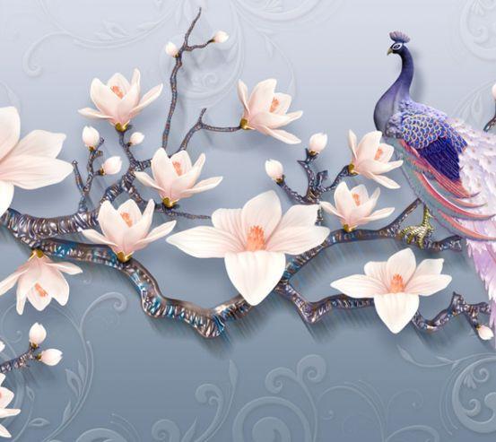 Фотообои Цветы магнолии и павлин 22938