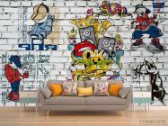 Фотообои 3д стена с граффити - 1
