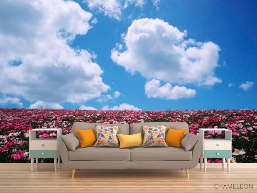 Фотообои Цветы, небо, тучи - 1