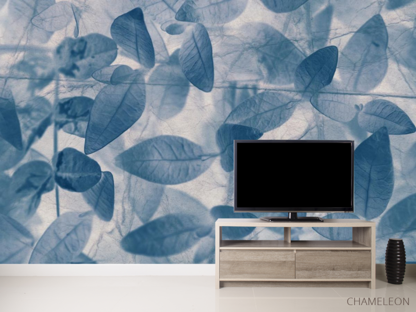 Фотообои серо-голубые листья - 2