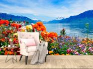 Фотообои Море цветов, горы - 4